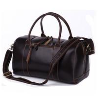 Travel bags New  high quality male Crazy horse leather travel bag quality cowhide handbag 7165q
