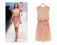 2013NEW European and American womens fashion chiffon pleated bow cocktail party sleeveless shoulder beads Dress