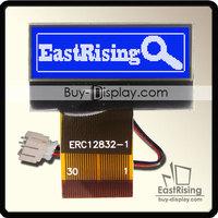 "Free Shipping,5pcs/lot,1.2"" inch 128x32 LCD Display COG Module Dot Matrix Grapihc ,White on Blue Color"