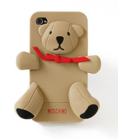 Hot sell 3D Teddy Cute Bear silicon cover cases for iPhone 4 4s with retail package Free Shipping