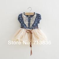 Baby Girls new summer children pearls floral princess tutu dresses  D7DS1401-71