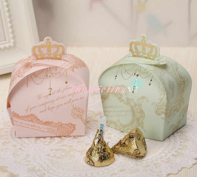 Royal crown design sweet candy Chocolate cookies box,  Wedding Favor gift boxes for cakes 100pcs/lot. Pink & green. Party decor(China (Mainland))