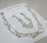 wholesale 5-6mm 10 set  3row genuine freshwater pearl  necklace & bracelet   Y6