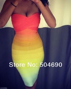 HL Bandage Dresses Top Quality Multi Coloured Gradient Rainbow Off Shoulder Evening Dress 2014 New Arrival Celebrity Party Dress