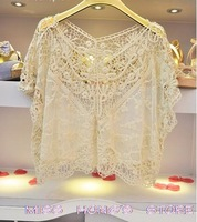 New Women Fashion Sweet Cute Lace Flower Batwing Loose Blouse Shirt Top 3812jh Hot