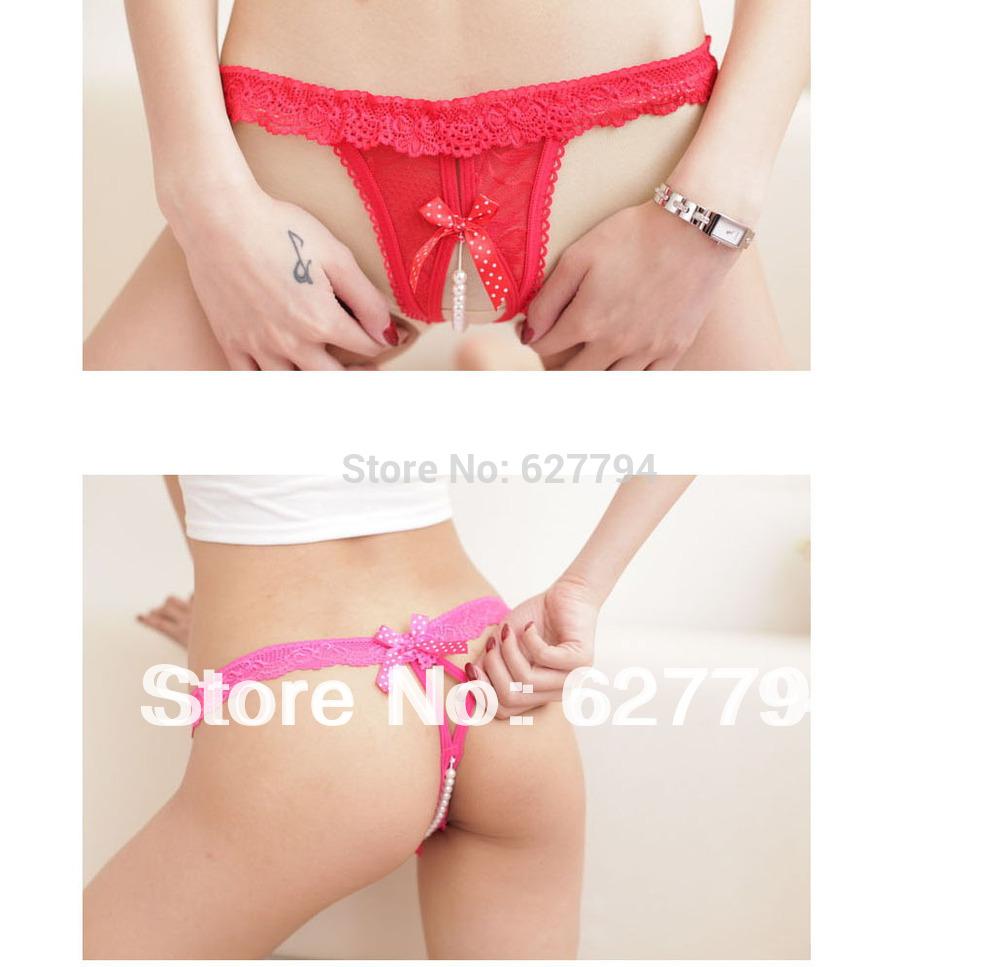 Hot Sale Sexy Lace Women's Underwear Open Crotch Thongs Pearl Panties