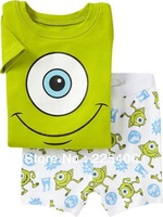 2014 Summer Brand children's clothing sets Pyjamas suit  short sleeves Green eyes  child's clothes baby 100%cotton underwear