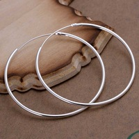 Hot Sale!!Free Shipping 925 Silver Earring,Fashion Sterling Silver Jewelry Smooth Circle Earrings SMTE042