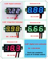 "Four colors0.28"" Mini Digital Voltmeter DC3.50-30V 3 Digit 2 wires Vehicles Motor Voltage Panel Meter led  [ 12 pieces / lot]"