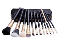 12 PCS Black High Quality Professional Makeup Cosmetic Brush Set Kit Case H1076A Fshow