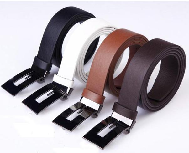 Belts For Men Leather Fashion Faux Leather Premium G Shape Metal Men's strap man Ceinture Buckle Belt 4 colors FX1307(China (Mainland))