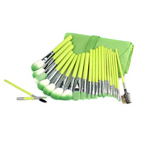 2013 New Arrival 23pcs Deluxe Professional green Makeup Brush Set With Case Cosmetic Brushes Free Shipping  H1002J