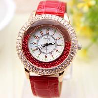 10 colors Fashion Watch Women Rhinestone Watch Leather Strap Wrist watch Quartz Watch 1piece/lot BW-SB-165