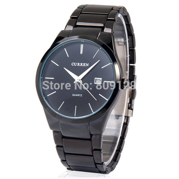 CURREN 8106 Men fashion Brand Watches Tungsten Steel boys Wristwatches Analog Quartz Man Fashion Clock Men's Watch (black)(China (Mainland))