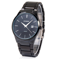 CURREN 8106 Men fashion Brand Watches Tungsten Steel boys Wristwatches Analog Quartz Man Fashion Clock Men's Watch (black)