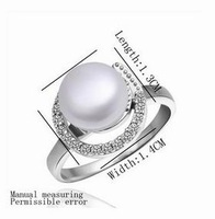 NEW Arrival!! Fashion Platinum Plated Simple Zircon Pearl wedding Ring Jewelry Rings Top Quality Free shipping NPLR005