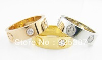 2013 Fashion jewelry The screws of love 14k rose gold silver Plated Ring 0.4cm surface wide with swiss drill Free shipping