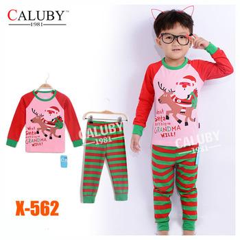 Girls Boy Christmas Sets Kids Autumn -Summer Clothing Set New 2014 Wholesale Children 2-6Y Xmas Cartoon Pijamas X-562
