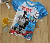Hot sale  thomas t shirt cartoon the train t-shirts for girls kids tshirt boys clothing Children tshirts wholesaleK2015