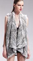 Lady Fashion Genuine Real Knitted Rabbit Fur  Vest Waistcoat  Winter Women Fur Outerwear Coats Female Charm Gilet QD21918