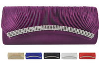 Fashion Handbags 2014 Diamante Velour Pleated Party Bag Evening Clutch Bags 6Color/CB015 Free Shipping