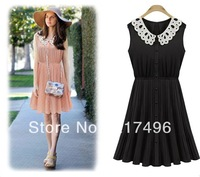 Women summer single-breasted dress 2014 gentlewomen fashion lace turn-down collar slim waist pleated sleeveless chiffon Vestido