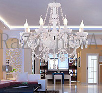 free  shipping  68L*68W*100H cm White Crystal Chandelier with 8 Lights - Candle Featured Style    Transparent Crystal