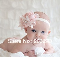 New Style fashion chiffon big flower headband girl baby hair band headwear infant hair accessory with package wholesale