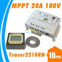 10pcs lots,EPsolar Tracer2210 MPPT 20A 100V solar charge controller with remote meter MT-5