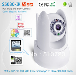 WiFi IP Camera/Wireless Network Camera/ /32G TF Store/ Plug&Play(P2P)IR Night Vision/PanTilt CCTV Cameras/IR-Cut(China (Mainland))