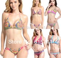 2014 Newest Fashion Indiana Totem Bandeau Padded Bikini Set Boho Style Sexy Women Beachwear Swimsuit 6 Colors 3 Size