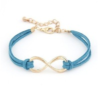 Min order is $10(mix order) Fashion cashmere leather  vintage 8 brief leather bracelet 10colors women charm bracelets SL077