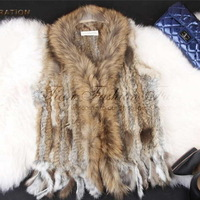 Women Genuine Knitted Rabbit Fur Vest with tassels Raccoon Dog Fur Trimming Waistcoat 15 COLORS IN STOCK FREE SHIPPING