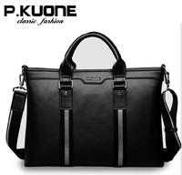 P. kuone high quality England business fashion Cowskin Genuine leather handbag briefcase bag for men male