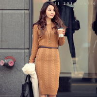 free shipping 2013 new fashion women's cardigan dress  garment skirt  . Sweater dress. Round collar