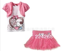 New Summer Girls' Clothing Set Cartoon Hello Kitty Suits,Short Sleeves T-shirt+ Flower Print Glitter Sequins Tutu Mini Skirt Set