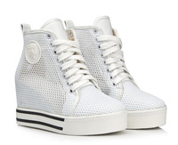 Hollow platform wedges 6cm high tops women sneakers summer autumn 2014 brand shoes woman