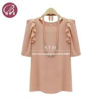 2013 summer new commuter shirt fashion chiffon shirt blouse short sleeve shirt Women tee bottoming shirt free shipping