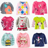 Retail  Brand 100%cotton Spring kids baby girls clothes tshirts children's blouse Long sleeve tshirts Cartoon Casual dress Cute