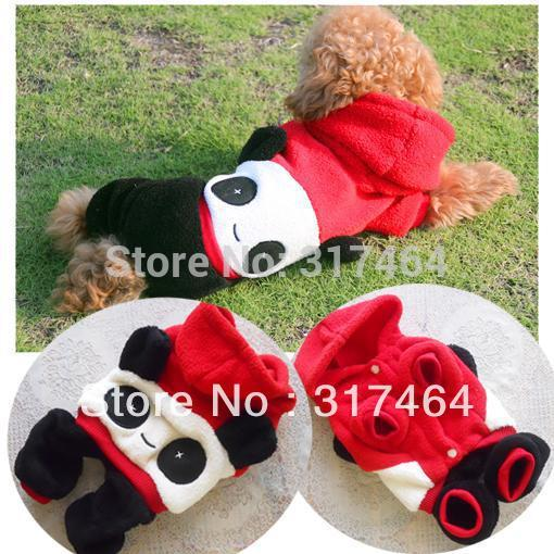 Free shipping!On Sale! Fashion pet dog panda hood Jumpsuit costume clothes Soft polar fleece Teddy bear apparel(China (Mainland))