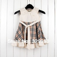2-6Y Clearance 2014 summer preppy style 5 colors girls plaid dress children dress girl dress 100% cotton kids brand dress