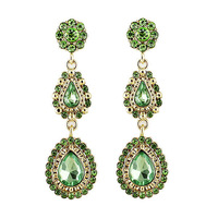 2013 latest hot sale fashion style green rhinestone water drop earrings