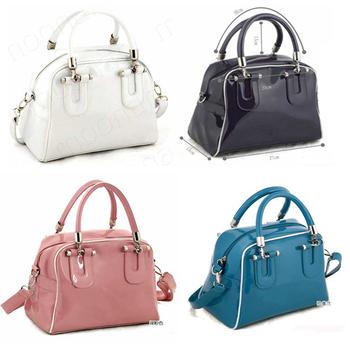 Designer Lady White PU Leather Handbag Elegant Totes Shoulder Bags Clutch Purse Bags 4 Colors Available 25/B009