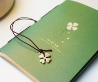 2013 new 4 color  four leaf clover mini vintage kawaii cowhide paper notebook  /notepads NT004