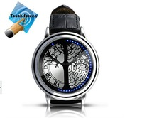 New Arrival Korea Fashion Men Luxury Touchscreen Blue LED Quartz Leather Wrist Watches Free Shipping