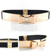 2013 new  gold cummerbund  metal & elastic belt corset women bow  belt  Metallic mirror bowknot waist Belt free shipping AB012