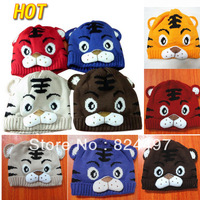 2013 Hot Baby Hat, boy Cartoon Tiger Hat, Children's Knitted Warm Hat, Girl Crochet Cap Free shipping