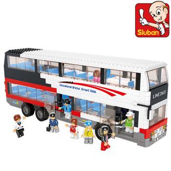 Sluban Building Block Toy City Double-Decker Bus Construction Sets DIY Educational Bricks Toys for Children Compatible Bricks