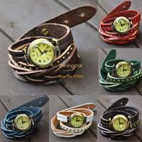 Women's Vintage Quartz Weave Wrap Synthetic Leather Bracelet Watch,Roma Number Dial Quartz Wristwatch Dropshipping 18707