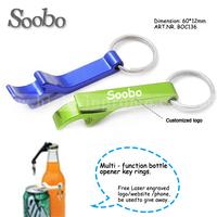 (500pcs/lot)multi-function key ring bottle opener,random multi-colors,free shipping and free customized logo laser engraving
